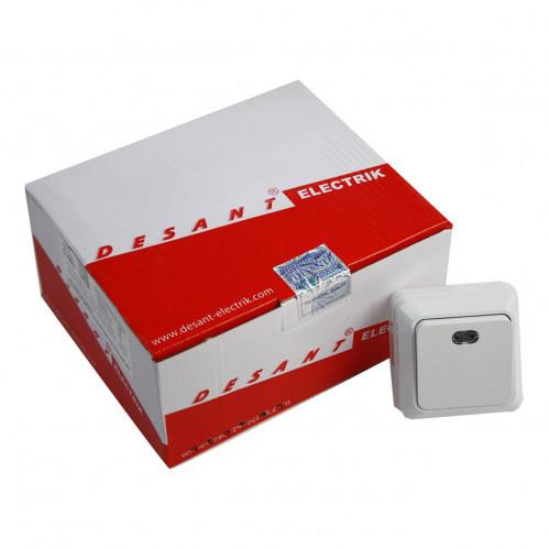 D-603 Выключатель одинарный наружный с подсветкой (120/10)