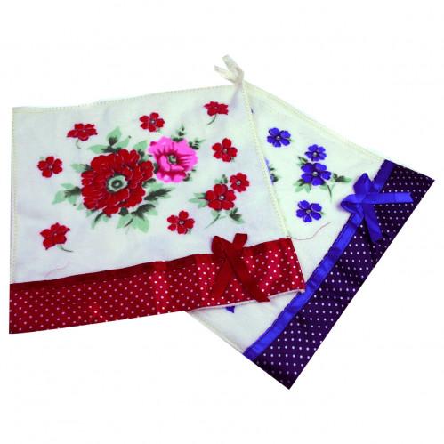 Полотенце-салфетка №002-55-2000 кухонное, цветы с атласным бантиком (25*25)см (2000)