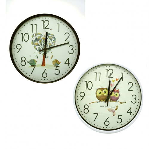 Часы №CZK-504NA настен. пл. кругл. 2цв +4рис. (30*30*4)см в кор. (30)