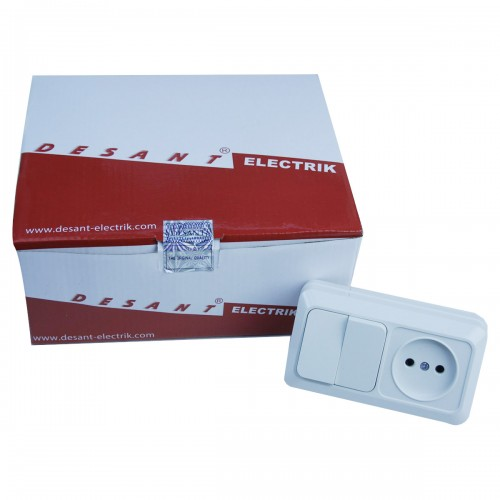 D-623 выключатель (2) +розетка (1) (60/5)