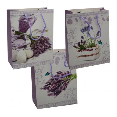 Пакет №1706-2 подарочный бумаж. с рис. лаванды L (26*32*12)см (240)