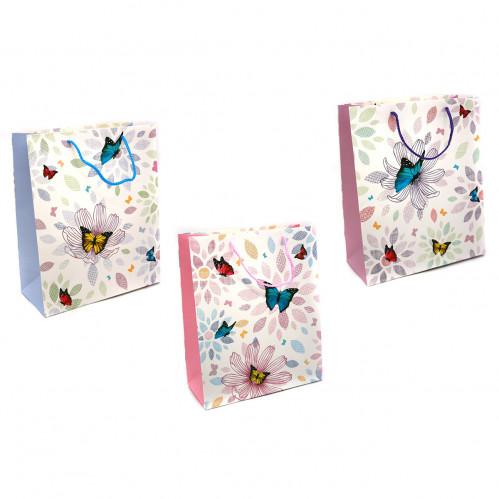 Пакет №1754-2 подарочный бумаж. с рис. бабочка L (26*32*12)см (240)