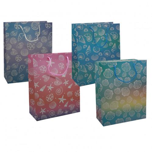 Пакет №6859-2 подарочный бумаж. с рис. звезда сердце и лягушка L (26*32*12)см (240)