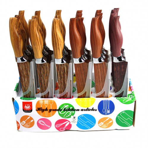 Нож №201SMW фрукт. метал. деревян. цв. с пл. руч. в чехле 24шт в красивой коробке 7,5д (288)