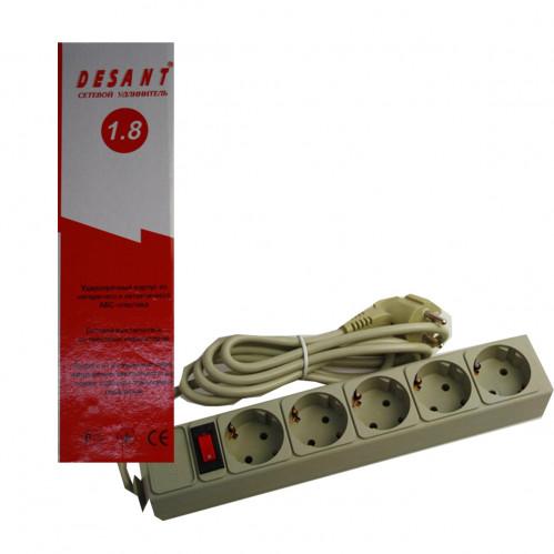 Фильтр компьютерный 5022ST 5 гнезд 1,8м с латунными контактами и выключателем (40)