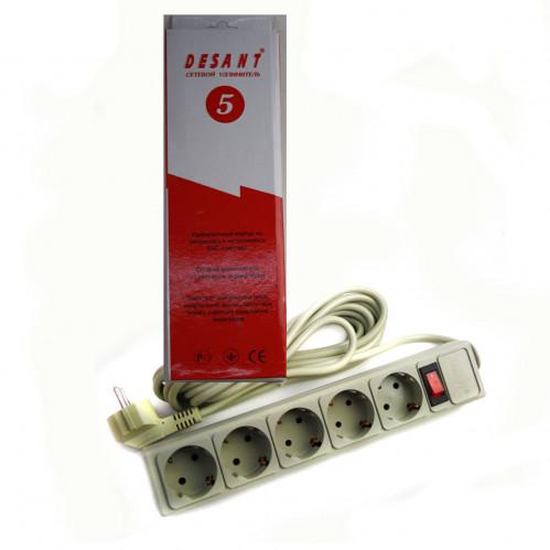 Фильтр компьютерный 5025ST 5 гнезд 5м с латунными контактами и выключателем (20)