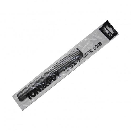 Расчёска №06928 пл. чёр. цв. в кл. 1шт в ср. пач. 12шт (0,5*2,5*18)см с двухразм. щетиной (1200)