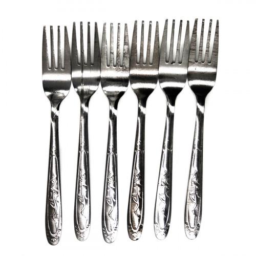 Вилка №CD211B столовая метал. серебро с рис. птица 6шт в пач. (600)