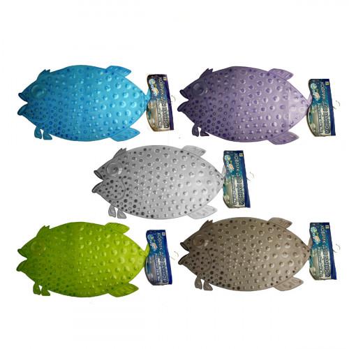 Коврики №КР-6 пвс рыба прозр. с капл. (37*73)см 6цв с бум. (60)