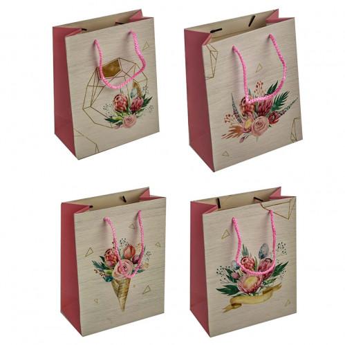 Пакет №6905-2 подарочный бумаж. с рис. цветы 4вида L (26*32*12)см (240)
