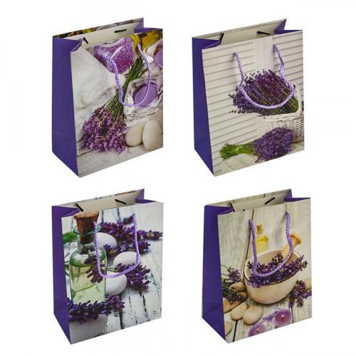 Пакет №1902-1 подарочный бумаж. с рис. лаванда 4вида М (18*23*10)см (480)
