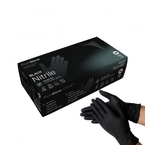 Перчатки  медицинские  Nitrile Black M черная ProfiGlove (500)