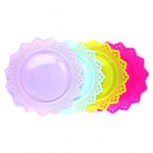 Тарелка №909 пл. круг. с кружев. 24см (360)