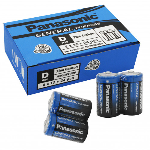 Батарейка R20 Panasonic в уп.24шт. в спайке 2шт (120/24)