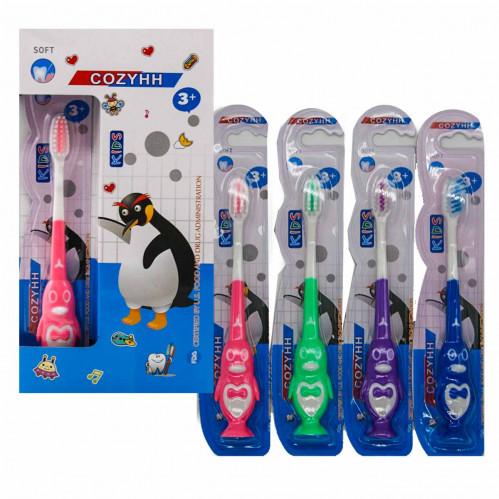 Зубная щётка №204 детская на листе пингвин 12шт в кл. (576)
