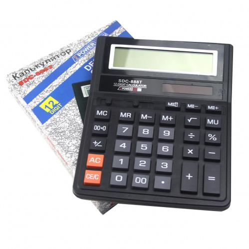 Калькулятор №SDC-888T (№888) бол. пл. прямоуг. (3,5*15,7*20)см чёр. цв. в кл. в кор. (90)