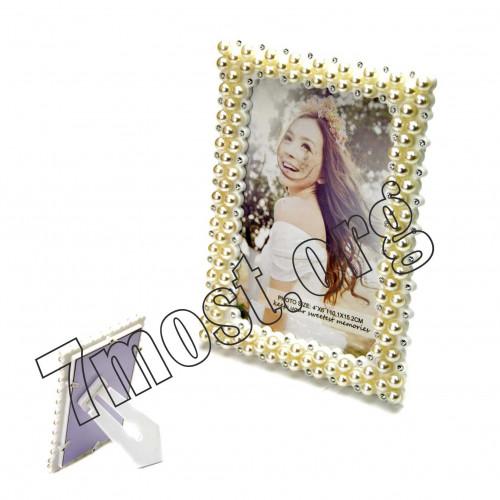Рамки д/фото №DZ802 пл. +оконт. с жемч. и блест. камень стекл. (15*20)см прямоуг. (60)
