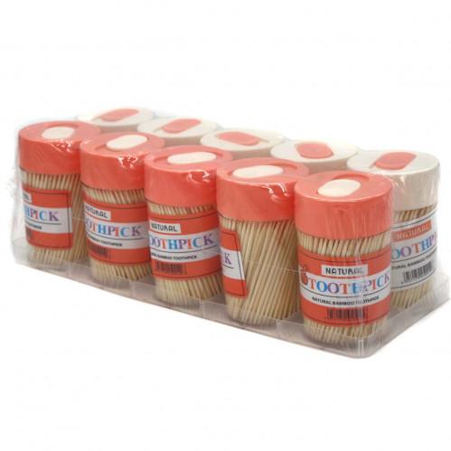 Зубочистки №6021 бамб. 250шт в круг. пл. банке 10шт в наб. (360)