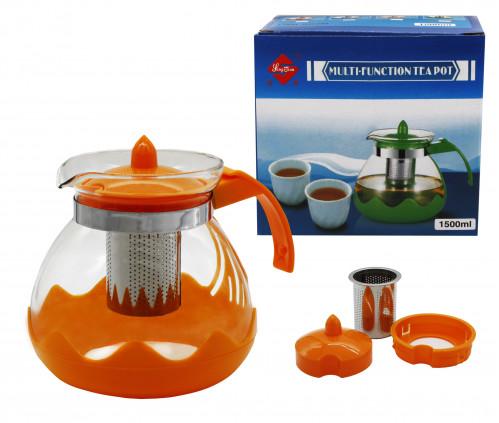 Чайник №М-590 (№303) заварник стекло 1,5л 3цв (36)