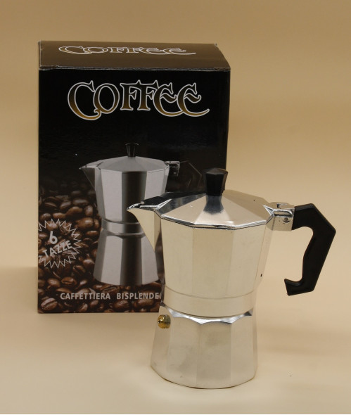 Кофеварка №КР-1-6 алюм. бел. с чёр.пл. руч. 6стак. в кор. 355гр (36)