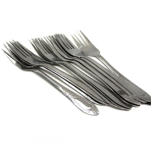 Вилка №2823-2 стол. метал. нерж. с рис. Лист сереб. цв. 35гр в кл. 6шт (600)