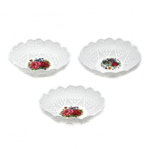 Корзина №751 (№8331) фруктовница круглая белая (400)