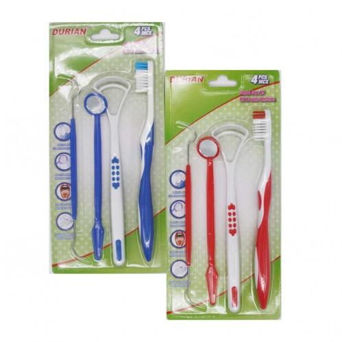 Набор №RJ-165 для зуб. 4шт на листе (зуб. щётка +зеркало +ложка +вилка) (288)