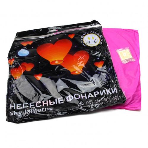 Неб. фонарик желания №Н-6 2цв (крас. +роз.) сердце (85*85)см в цв. кл. с рус. надп. (400)