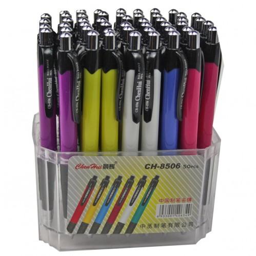Ручка шариковая №СН-8506 авт. син. стерж. 6цв корп. в пл. подст. 60шт (2000)