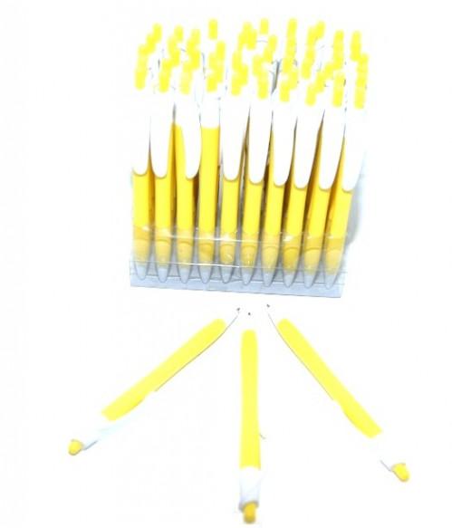 Ручка шариковая №029-6 авт. б/надп син стерж жёл корп (2400)