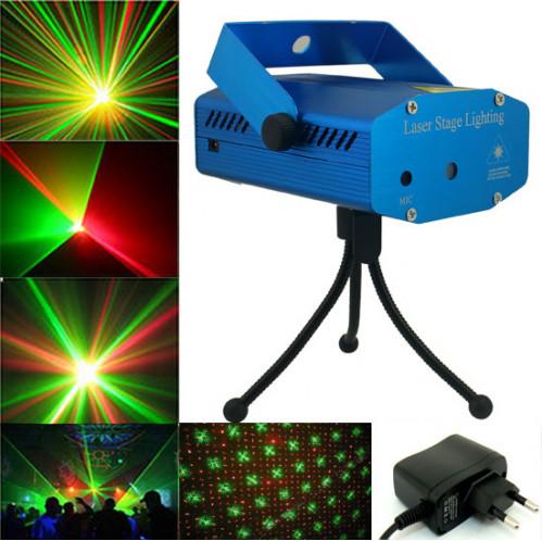 Лазерный прожектор №A6-D 4в1 4рис. алюм. в кор. 2вида 3 режима  (30)