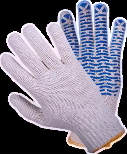 Перчатки №21-550 х/б белые с син. точкой ВОЛНА 550гр (600/12)