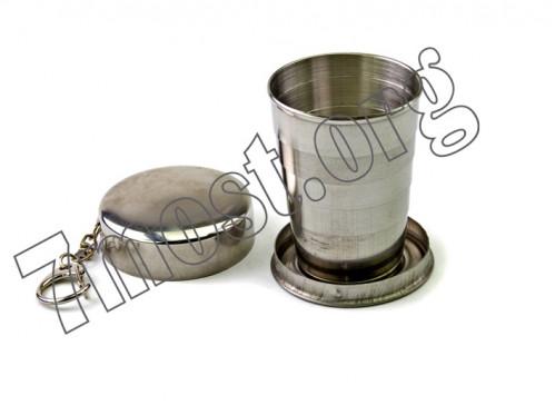 Рюмка №PM9 сувенир. мет. складная с брелоком 2,5унц. (200/10)