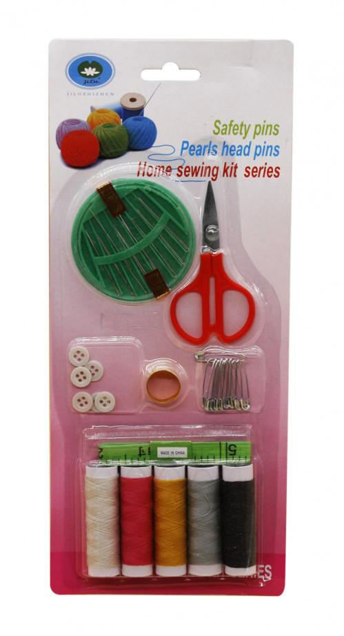 Набор №661 нитки+иголки+ножницы+булавки+сантим. +пуговицы+кольцо на листе (360)
