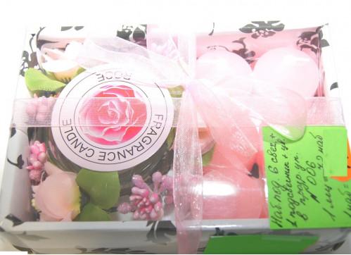 Набор №006 подар 6свеч+1подсвечник+цветок в подар упак. (72)