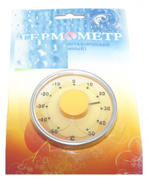 Термометр №СН-190 окон. биметал съёмн с цветоч на листе (240)