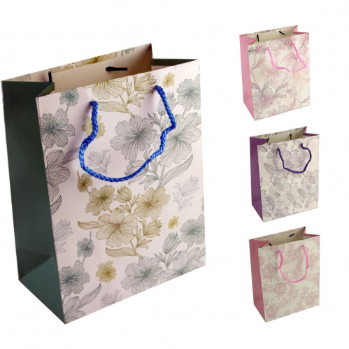Пакет №1763-1 подарочный бумаж. с рис. цветы М (18*23*10)см (480)
