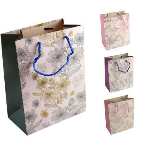 Пакет №1763-2 подарочный бумаж. с рис. цветы L (26*32*12)см (240)