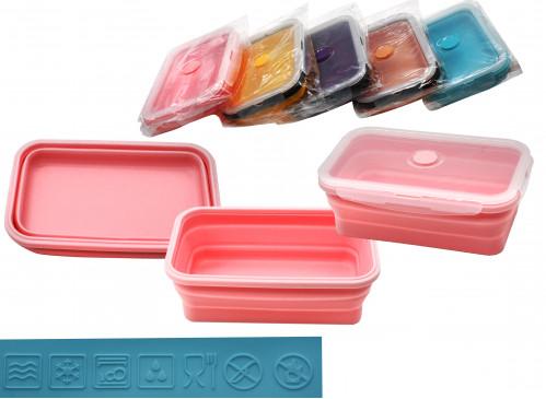 Миска №ФС-800 для еды силик. складная с пл. крышкой 3цв 800мл (100)