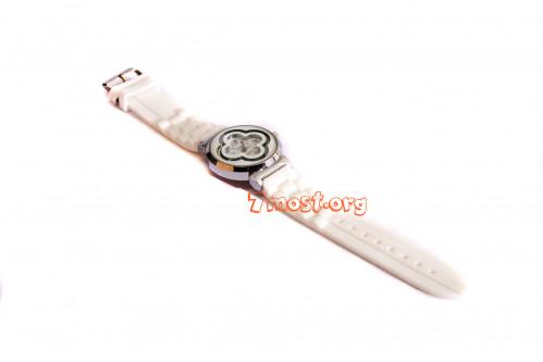 Часы д/руки №D-4 женские силикагелев. ремень с бат и бел кам (300)