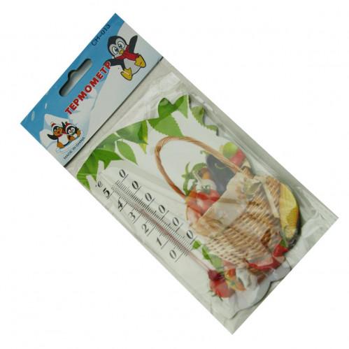 Термометр №СН-013 пл. с магн. на холод. сувенир с фрукт. рисун. (0,5*8,5*14,2) на листе в кл. (400)
