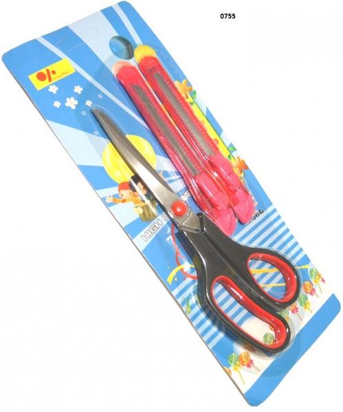 Ножницы №0755 канц 3шт (1ножн+2нож) на листе (240)