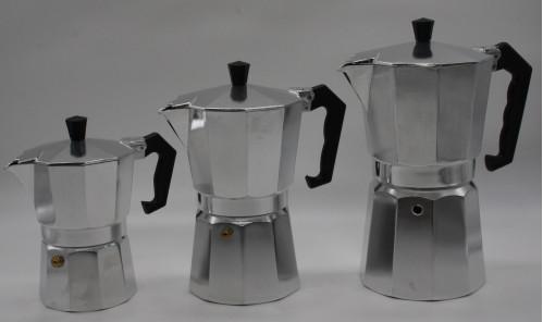 Кофеварка №КР-1-9 алюм. бел. с чёр.пл. руч. 9стак. в кор. 485гр (24)