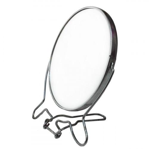 Зеркало №ЗМК-8 мет. с увел. 2стор. круг. сереб. цвет бол. (72)
