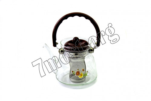 Чайник №1101-1600 стекл 1600мл с рис пл руч корич (27)