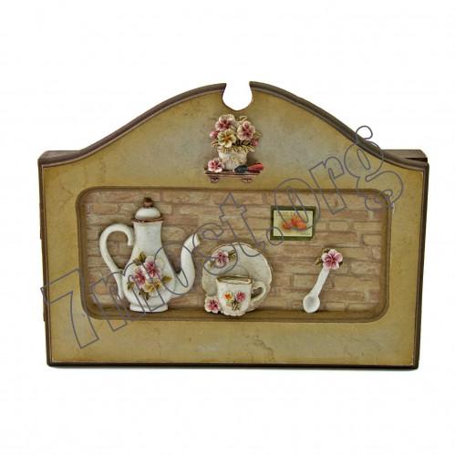 Ключница-вешалка №5028-3 сувенир. дерев 4рис морская (48)