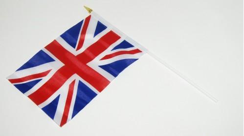 Флаг №022 ткан. лавсан (14*21)см в ср. пач. 12шт с палоч. и липуч. великобрит. (2400)