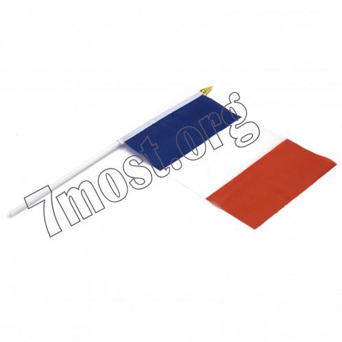 Флаг №024 ткан. лавсан (14*21)см в ср. пач. 20шт с палоч. и липуч. француский (2400)