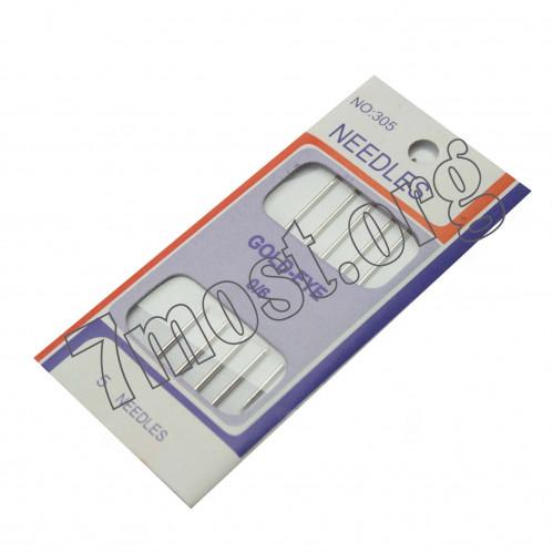 Иголки №302-89 д/шитья 5шт на листе мет. (89*1,15)мм в ср. пач. 144листа (1440)