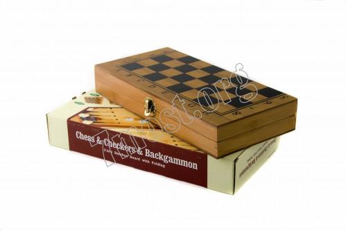 Шахматные игры №315 дер. (4,8*14,5*29,5)см 3в1 в бум. кор. (48)